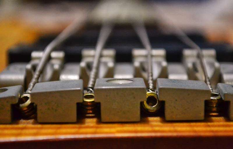 Looking down the strings from the fretboard.