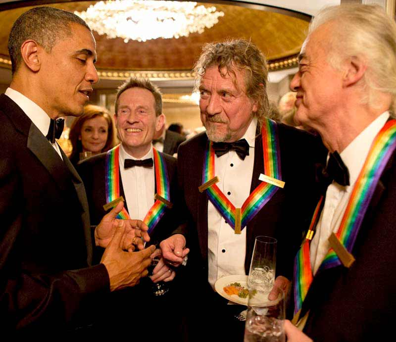 Barack Obama, John Paul Jones, Robert Plant and Jimmy Page.